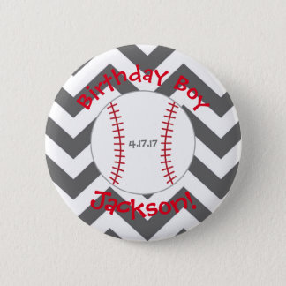 Chevron, Baseball Birthday Button- Special Bday 2 Inch Round Button