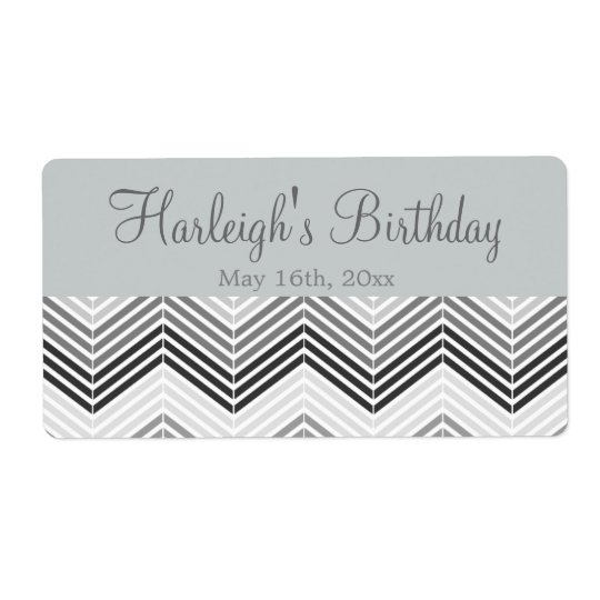 Chevron Birthday Water Bottle Labels