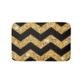 Chevron Black Gold Diamonds Bath Mat