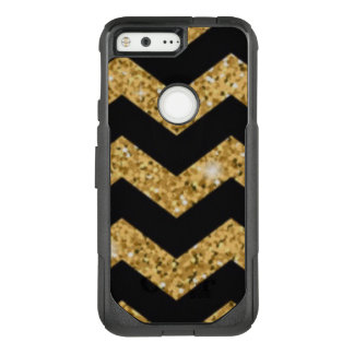 Chevron Black Gold Diamonds OtterBox Commuter Google Pixel Case