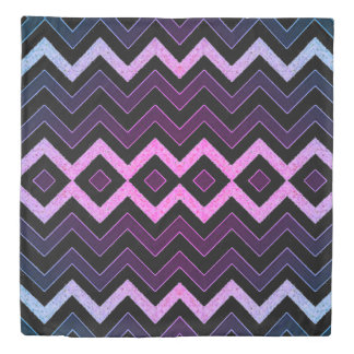 Chevron Black with Purple Duvet Cover