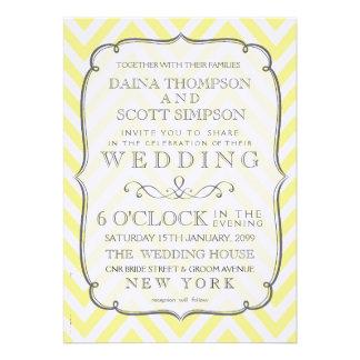 Chevron blanc et jaune vintage barre le mariage
