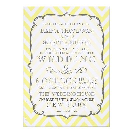 Chevron blanc et jaune vintage barre le mariage faire-parts
