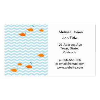 Chevron bleu lunatique avec des poissons d or cartes de visite personnelles