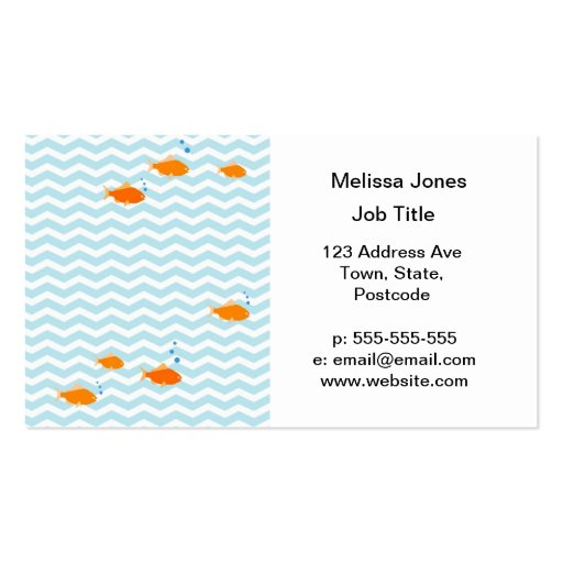 Chevron bleu lunatique avec des poissons d'or cartes de visite personnelles