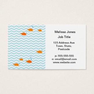 Chevron bleu lunatique avec des poissons d'or cartes de visite