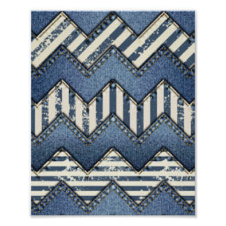 Chevron Blue Jean Pattern Print Design