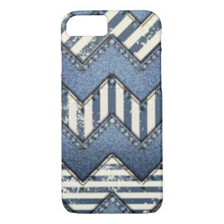 Chevron Blue Jean Pattern Print Design iPhone 7 Case