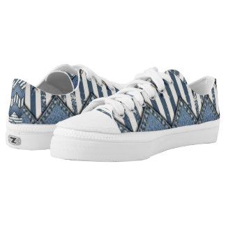 Chevron Blue Jean Pattern Print Design Low-Top Sneakers
