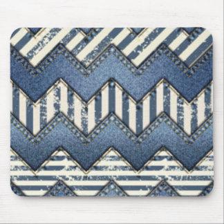 Chevron Blue Jean Pattern Print Design Mouse Pad