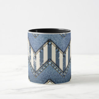 Chevron Blue Jean Pattern Print Design Mug