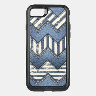Chevron Blue Jean Pattern Print Design OtterBox Commuter iPhone 7 Case