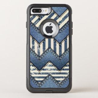 Chevron Blue Jean Pattern Print Design OtterBox Commuter iPhone 7 Plus Case