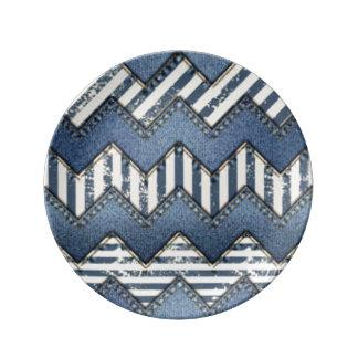 Chevron Blue Jean Pattern Print Design Plate