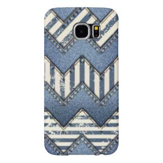 Chevron Blue Jean Pattern Print Design Samsung Galaxy S6 Cases