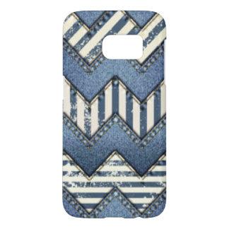 Chevron Blue Jean Pattern Print Design Samsung Galaxy S7 Case