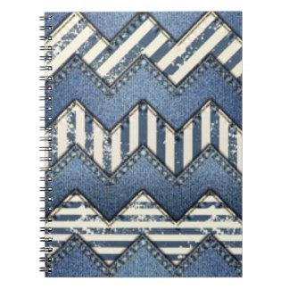 Chevron Blue Jean Pattern Print Design Spiral Notebook