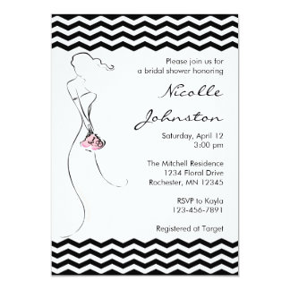 Chevron Bride Pink Bridal Shower Invitations