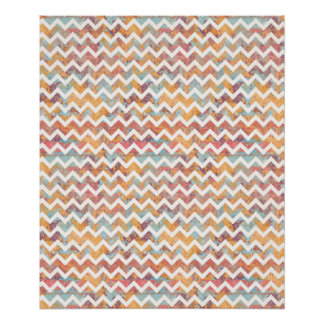 Chevron Bright with Artist Grunge Texture Poster