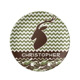 Chevron Buck Camouflage Personalize Porcelain Plate