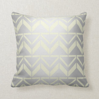 Chevron Canary Yellow Pastel Gray Silver Ethnical Throw Pillow
