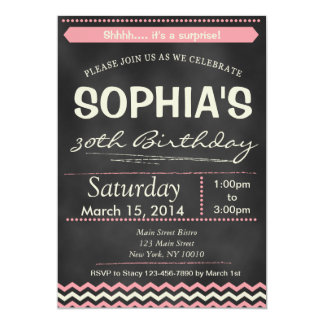 Chevron Chalkboard Surprise Birthday Invitation