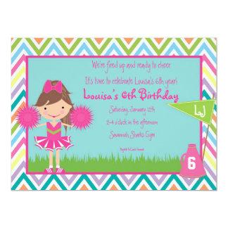 Chevron Cheer Party Invitation- Brunette/Brown Hai Card