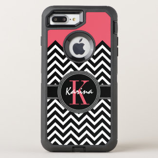 Chevron Chic Coral Peach Monogram OtterBox Defender iPhone 8 Plus/7 Plus Case