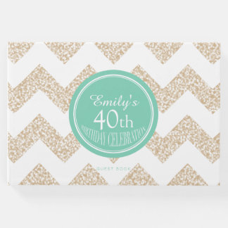Chevron Choose Color 40th Birthday Guest Book