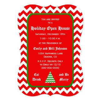 Chevron Christmas Open House Invitations