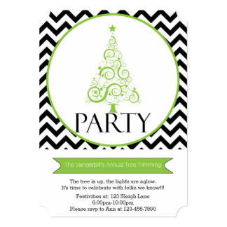 Chevron Christmas Tree Trimming Party Invitation