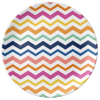 Chevron Colorful Pattern Fun Rainbow Porcelain Plates