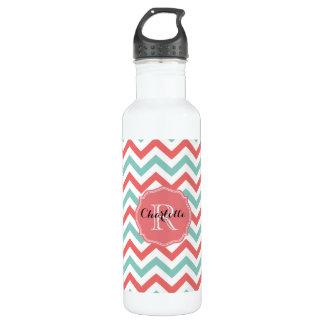 Chevron Coral and Aqua Custom Name 710 Ml Water Bottle