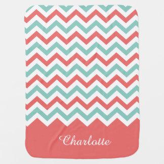 Chevron Coral and Aqua Custom Name Baby Blanket