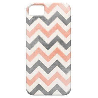 Chevron coral grey geometric iPhone 5 case
