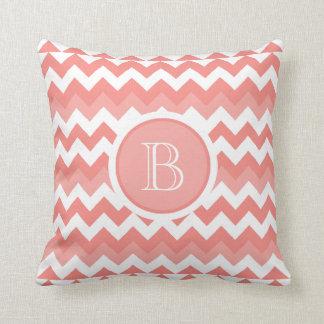 Chevron Coral White Monogram Pillow