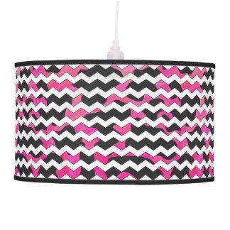Chevron Cow Pink and Black Pendant Lamp