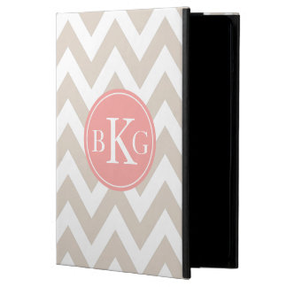 Chevron Custom Monogram | Taupe and Coral Cover For iPad Air