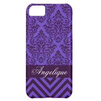 Chevron Damask Designer periwinkle | violet iPhone 5C Case