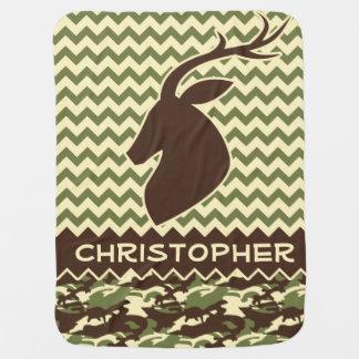 Chevron Deer Buck Camouflage Personalize Baby Blanket