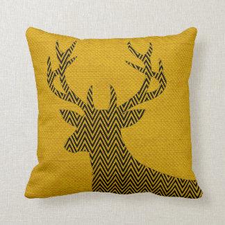 Chevron Deer Silhouette on Burlap | mustard Throw Pillow