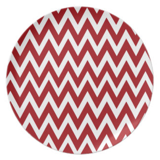 Chevron Dreams red and white Party Party Plates