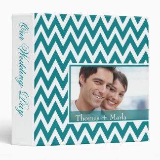 Chevron Dreams Wedding Photo Album | teal 3 Ring Binder