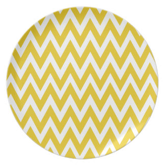 Chevron Dreams yellow and white Party Dinner Plate