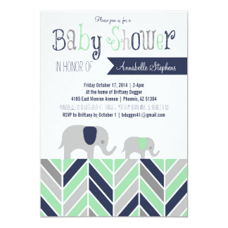 Chevron Elephant Baby Shower Invitation Navy Mint