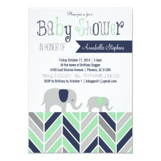 Chevron Elephant Baby Shower Invitation Navy Mint