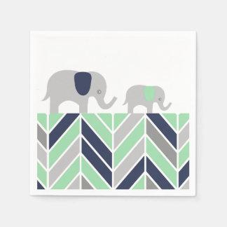 Chevron Elephants Modern Baby Napkin