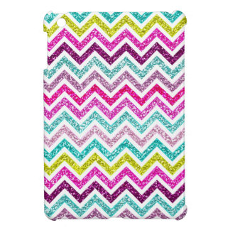 Chevron Faux Glitter Rainbow Coloful Girly Bling Cover For The iPad Mini