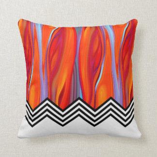 Chevron Flame | red orange blue lilac black white Throw Pillow
