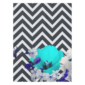 chevron Flower mix black and white,blue Tablecloth
